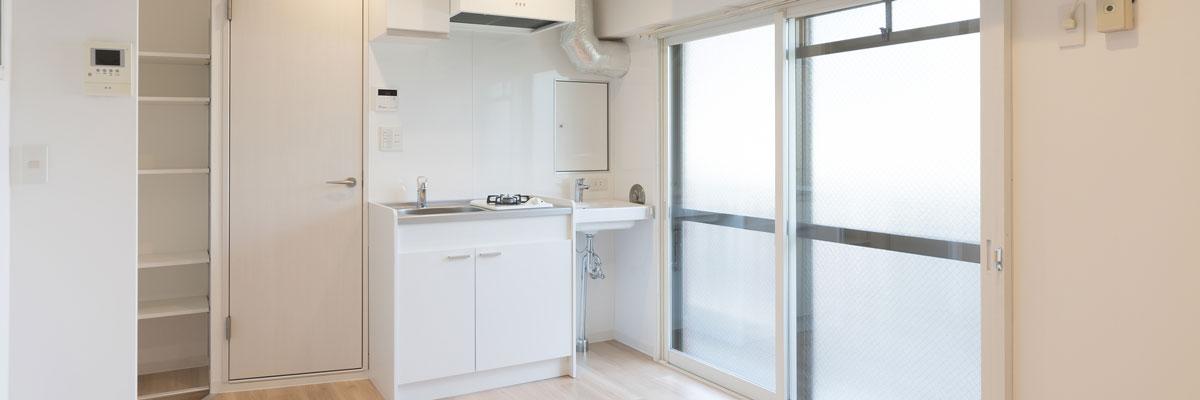 清掃されたキッチンと洗面台